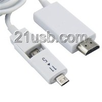 HDMI AM TO MICRO 5P+11P+USB MHL 视频线