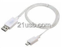 USB AM TO MICRO 5P CABLE 发光线 白色,USB手机线,手机数据线。